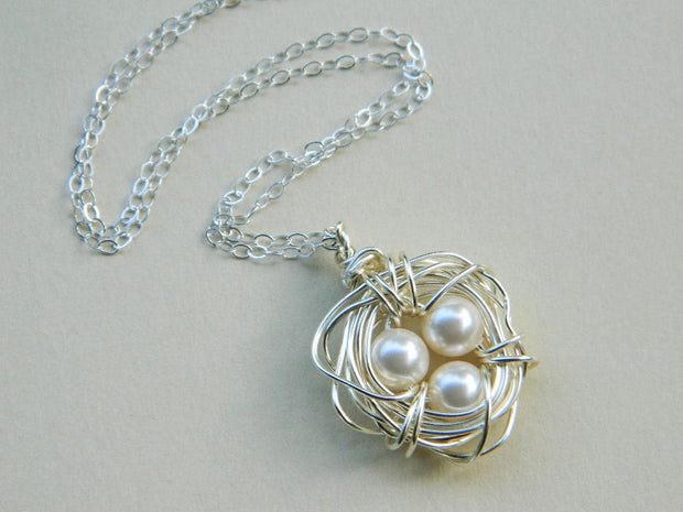 Three Child Bird's Nest Necklace. Sterling Silver Necklace. White Beige Pearl Pendant. OOAK Gift