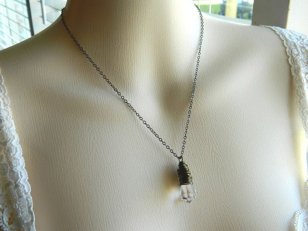 Teardrop Crystal Necklace. German Crystal Teardrop, Rustic Pendant Necklace. Crystal Drop Necklace