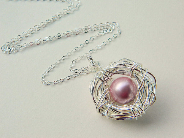 One Child Bird's Pearl Nest Sterling Silver Necklace