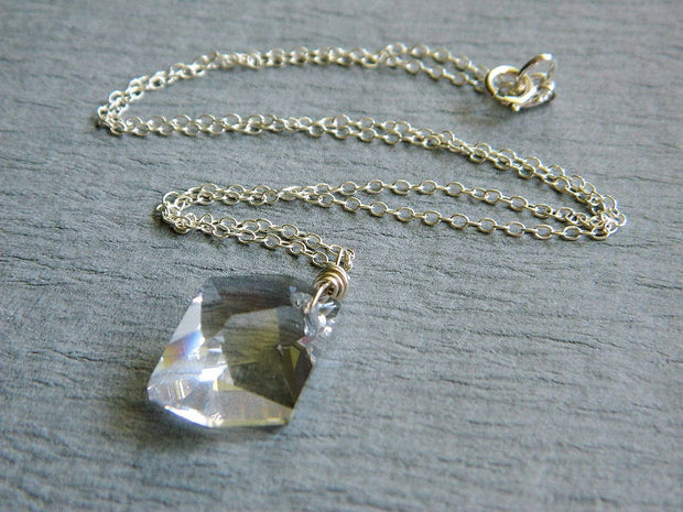 Swarovski Crystal Necklace. Sterling Silver Swarovski Necklace. Cosmic Swarovski Crystal. Gabeadz