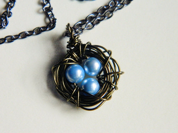 Three Child Bird's Nest Necklace. Three Pearls Baby Blue Pendant. Mother's Day. Handmade Necklace