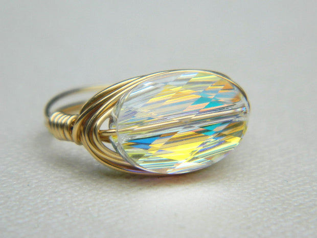 Gold Swarovski Oval Crystal Handmade Ring