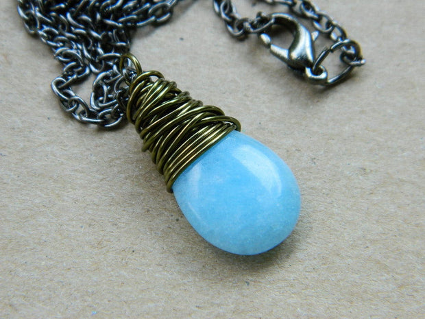 Wire Wrapped Light Blue Pendant Necklace. Opal Air Blue Gemstone Pendant. Teardrop Pendant