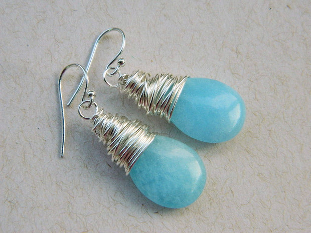 Drop Opal Blue Earrings. Larimar Quartz Jewelry Earrings, Briolette Sterling Silver Earrings