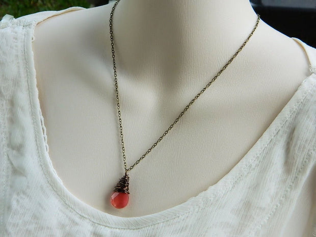 Salmon Quartz Briolette Drop Necklace, Wire Wrapped Pendant. Cherry Pink Pendant. Jewelry Necklace
