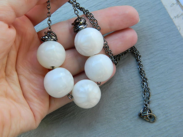White Resin Necklace. White Necklace. Grey Ivory Necklace. Bid Necklace. Rustic Jewelry Necklace