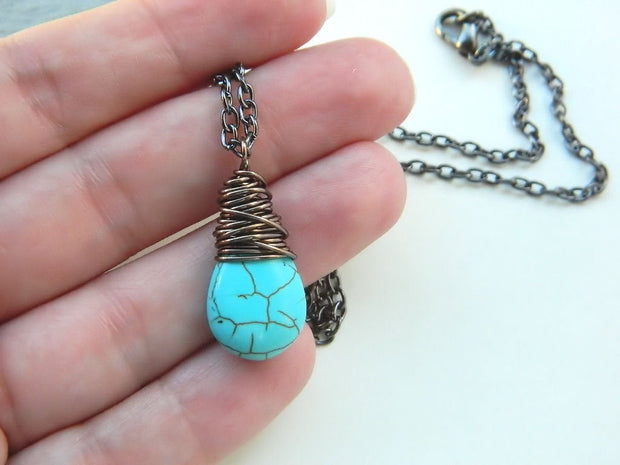Turquoise Necklace. Wire Wrapped Turquoise Pendant. Turquoise Drop. Boho Necklace. Tribal Turquoise