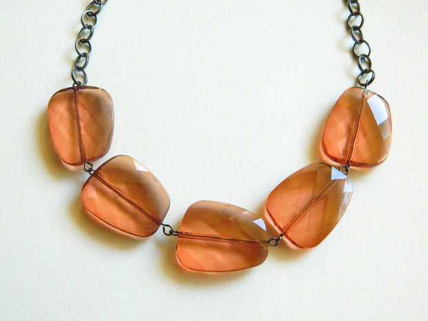 Brown Copper Bib Handmade Necklace