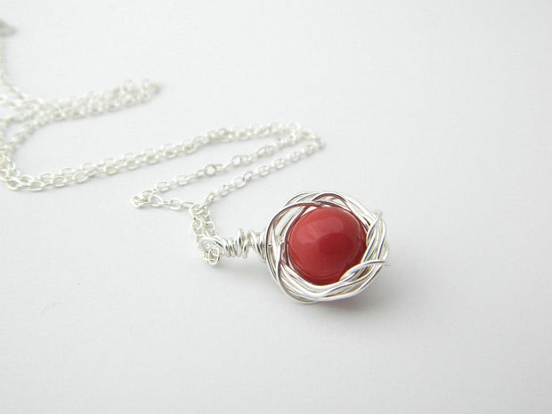 One Red Pearl Necklace. Sterling Silver Pearl Pendant Necklace. One of a Kind, Oxblood Pearl