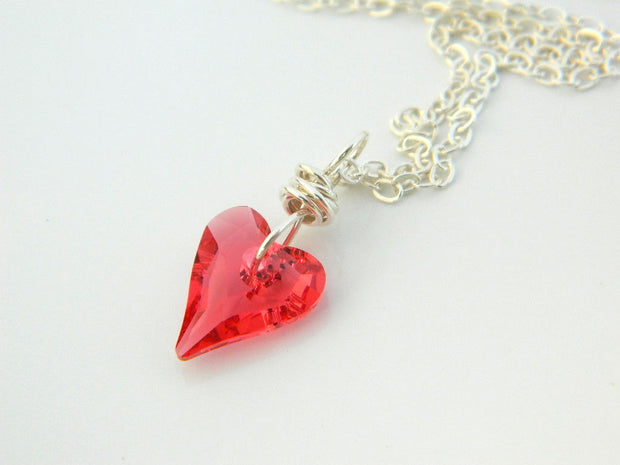 Pink Heart Swarovski Necklace. Indian Crystal Sterling S Jewelry. Valentine's Day Jewelry Necklace