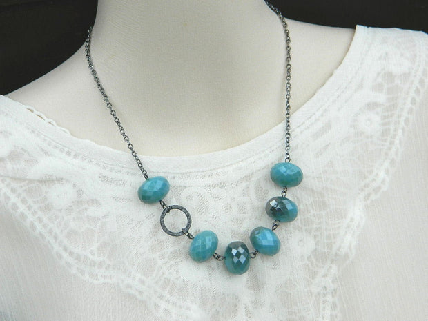 Teal Necklace. Bib Blue Grey Necklace. Gunmetal Necklace, Native American, Teal Jewelry Necklace