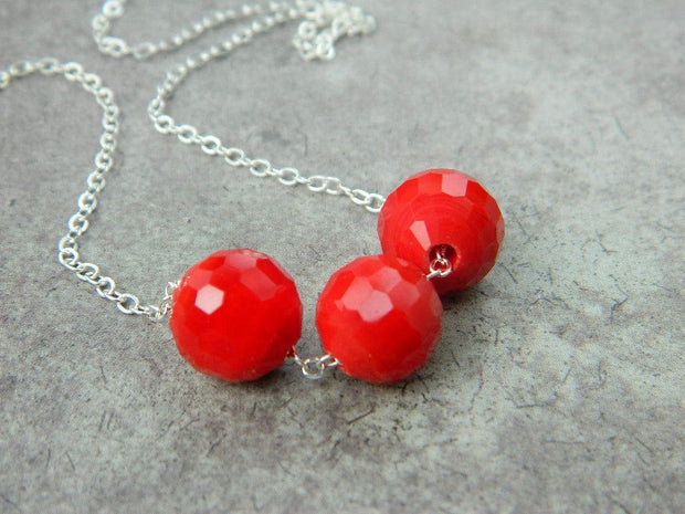 Red Crystals Necklace, Sterling Silver Red Necklace. Red Beads Necklace, Jewelry Necklaces
