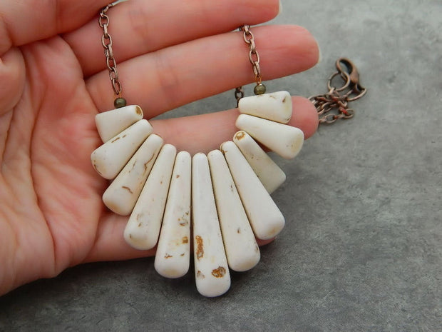 Howlite Turquoise Necklace. White/Beige Turquoise. Unique Beads. Boho Necklace. Jewelry Necklace