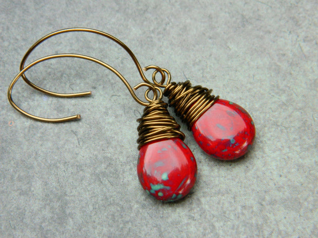 Red Drop Dangle Earrings. Red Czech Picasso Teardrop Jewelry Earrings. Red Dangle Earrings