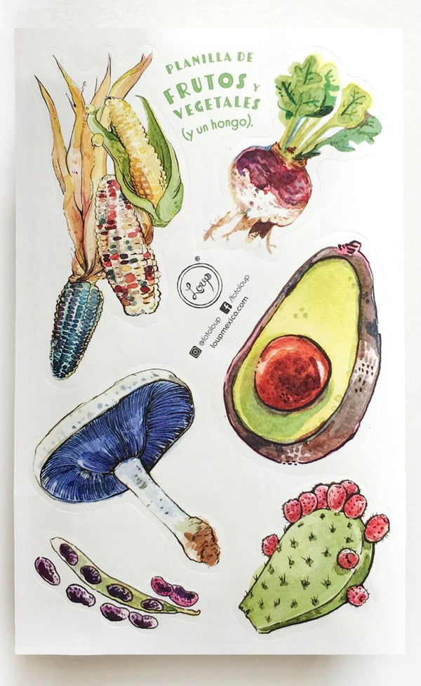 Planilla de stickers frutos y vegetables