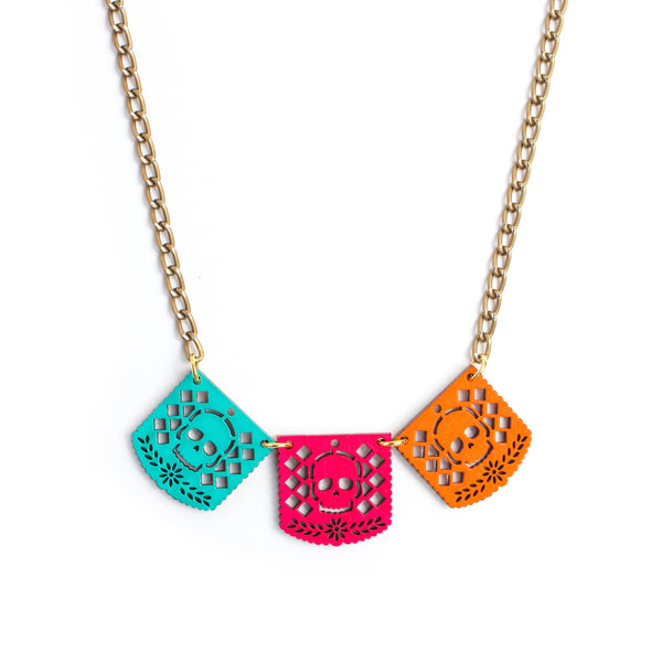 Collar papel picado calavera