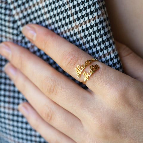 Adjustable Double Name Ring