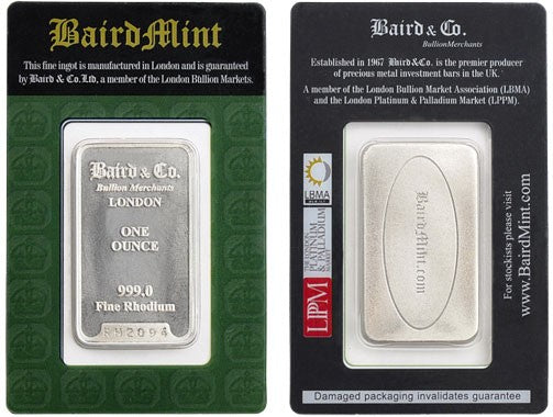 Rhodium bullion is now available!