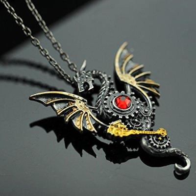 Steampunk Gears Dragon Necklace