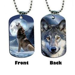 Wolf Dog Tag Pendant Necklace
