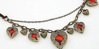 Queen of Hearts Steampunk Winged Heart Necklace