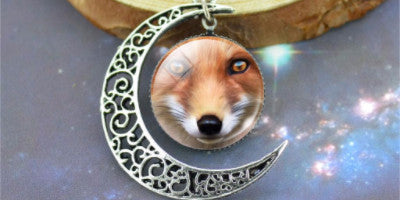 Red Fox Silver Crescent Necklace
