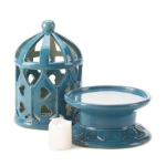 Ceramic Blue Lantern With LED Candle AttractionOil.com