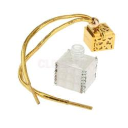 Gold Cube Glass Bottle Pendant Necklace filled with Pheromones - AttractionOil.com