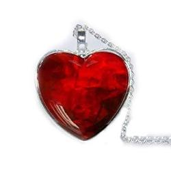 Red Heart Glass Cabochon Necklace Jewelry - AttractionOil.com