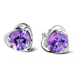 Silver Purple Crystal Earrings Jewelry - AttractionOil.com