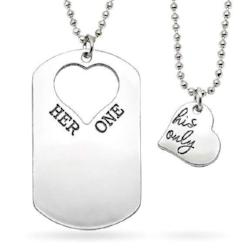 Her One and His Only Heart and Dog Tag Necklace