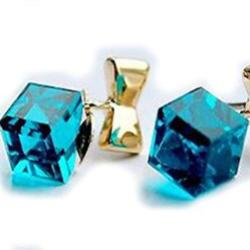 Blue Water Cube Earrings Jewelry - AttractionOil.com