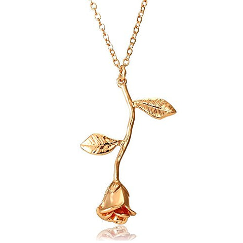 Delicate Gold Rose Necklace Jewelry - AttractionOil.com