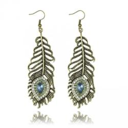 Metal Peacock Feather Crystal Drop Earrings