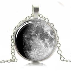 Silver Waxing Moon Pendant Necklace