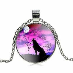 Purple Sky Wolf Silhouette Pendant Necklace Jewelry - AttractionOil.com
