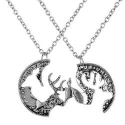Silver Coin Stag Deer Couple Pendant Necklace Jewelry - AttractionOil.com