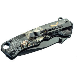 Spring Assisted Clip Point Folding Knife with Wolf Design