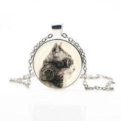 Silver Steampunk Cat Necklace Jewelry - AttractionOil.com