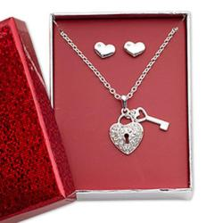 Pewter Hearts Earring & Heart Lock/Key Necklace Jewelry - AttractionOil.com