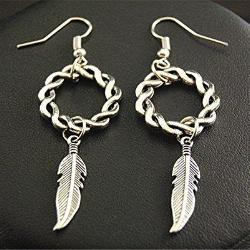 Silver Feather Leaf Celtic Knot Earrings Jewelry - AttractionOil.com