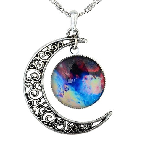 Galactic Crescent Pendant Necklace Jewelry - AttractionOil.com