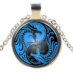 Black & Blue Yin Yang Dragon Pendant Necklace Jewelry - AttractionOil.com