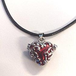 Silver Red Enamel Heart Locket Necklace Jewelry - AttractionOil.com