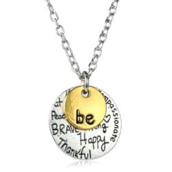 "Two-Tone Gold ""Be"" Charm Necklace Jewelry - AttractionOil.com"