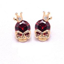 Steampunk Gold Skull Stud Earrings