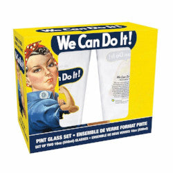 "Rosie The Riveter ""We Can Do It!"" 2 Pint Glass Set Drinkware - AttractionOil.com"