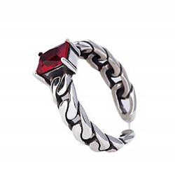 Red Crystal Adjustable Ring