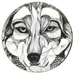 Wood Artistic Sketch Abstract Wolf Drink Coasters (Set of 4) Drinkware - AttractionOil.com