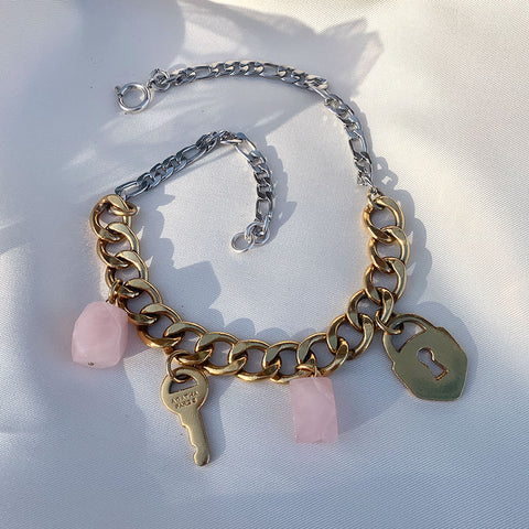 LOE bijoux upcyclés collier quartz rose